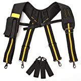 Melo Tough Padded Suspenders |Tool Belt Suspenders with movable phone holder Tape Holder Pencil holder Adjustable Straps, suspenders Loop heavy duty work for carpenter electrician work Suspension Rig