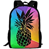 OIlXKV Black Pineapple Art Print Custom Casual School Bag Backpack Multipurpose Travel Daypack For Adult