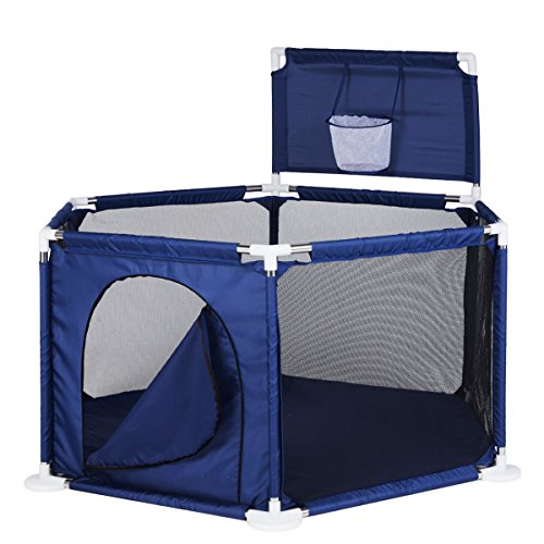 Baby Playyard Toy Tents Infant Playpens Safety Household Protective Fence Assembled House Play Yard Blue