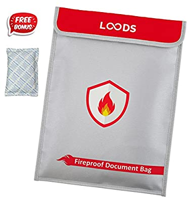 Fireproof Document Bag by Loods | Non-Itchy Water Resistant Document Safe Pouch for Money, Documents, Jewelry and Passport with Zipper Closure and Velcro. 15 x 11.2 Inch with Free Bonus Dry-Pack