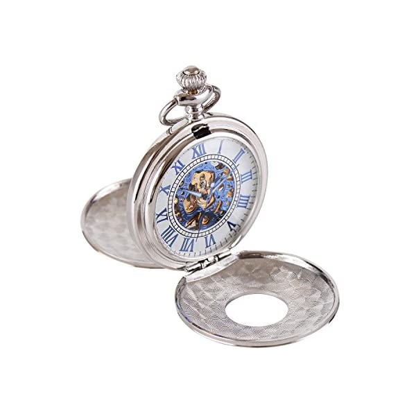 Wolfteeth Mechanical Pocket Watch Vintage Steampunk Designed Blue Roman Numerals Scale Double Openable Covers Classic Pocket Watch 3053 4