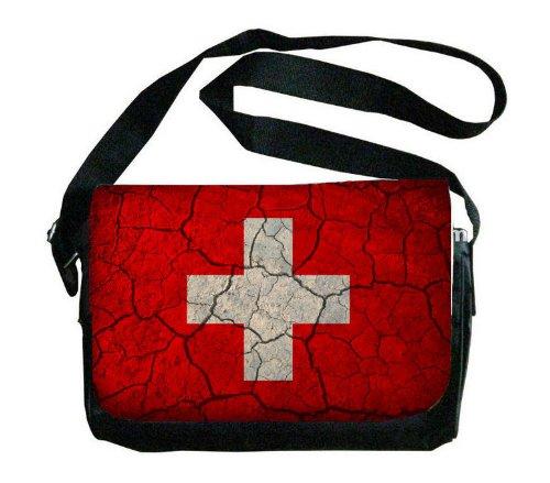 スイス国旗Crackledデザインメッセンジャーバッグ   B00FMFNWQC