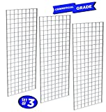 Only Garment Racks #1898WHT (3PCS) Only Garment Racks Commercial Grade Gridwall Panels – Heavy Duty Grid Panel for Any Retail Display, 2' Width x 5' Height, 3 Gridwall Panels Per Carton (White Finish)