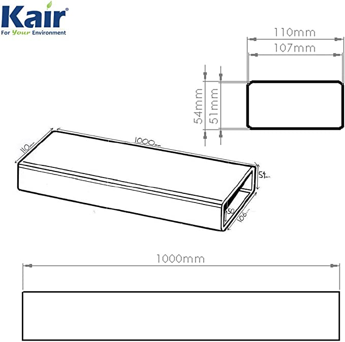 Conducto Plano Rectangular de 110mm x 54mm de 1 Metro: Amazon.es: Electrónica