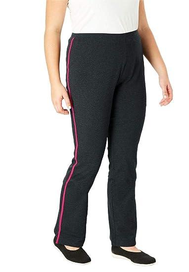 8758b81ed930e Woman Within Plus Size Tall Stretch Cotton Side-Stripe Bootcut Yoga Pant -  Black Gunmetal
