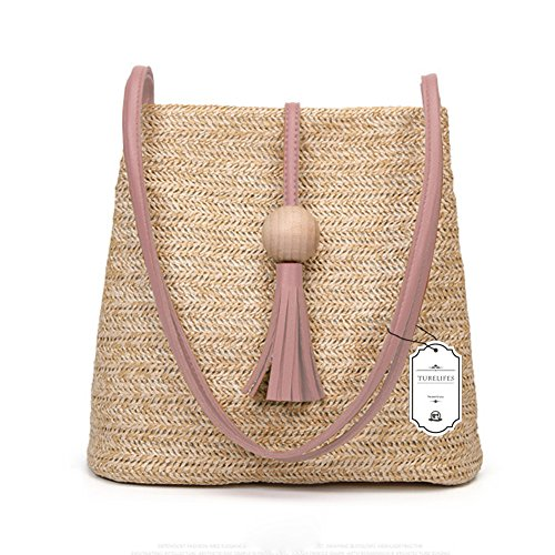 Handbag Shoulder with Summer Totes Bag Turelifes Bucket Tassel Women Crossbody Pink Straw Bags For Beach Weave Hand wSqHXAg