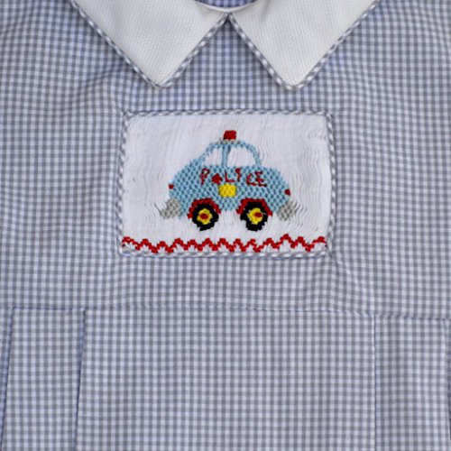 Baby Boy's Hand Smocked Creeper - Police Car Embroidery
