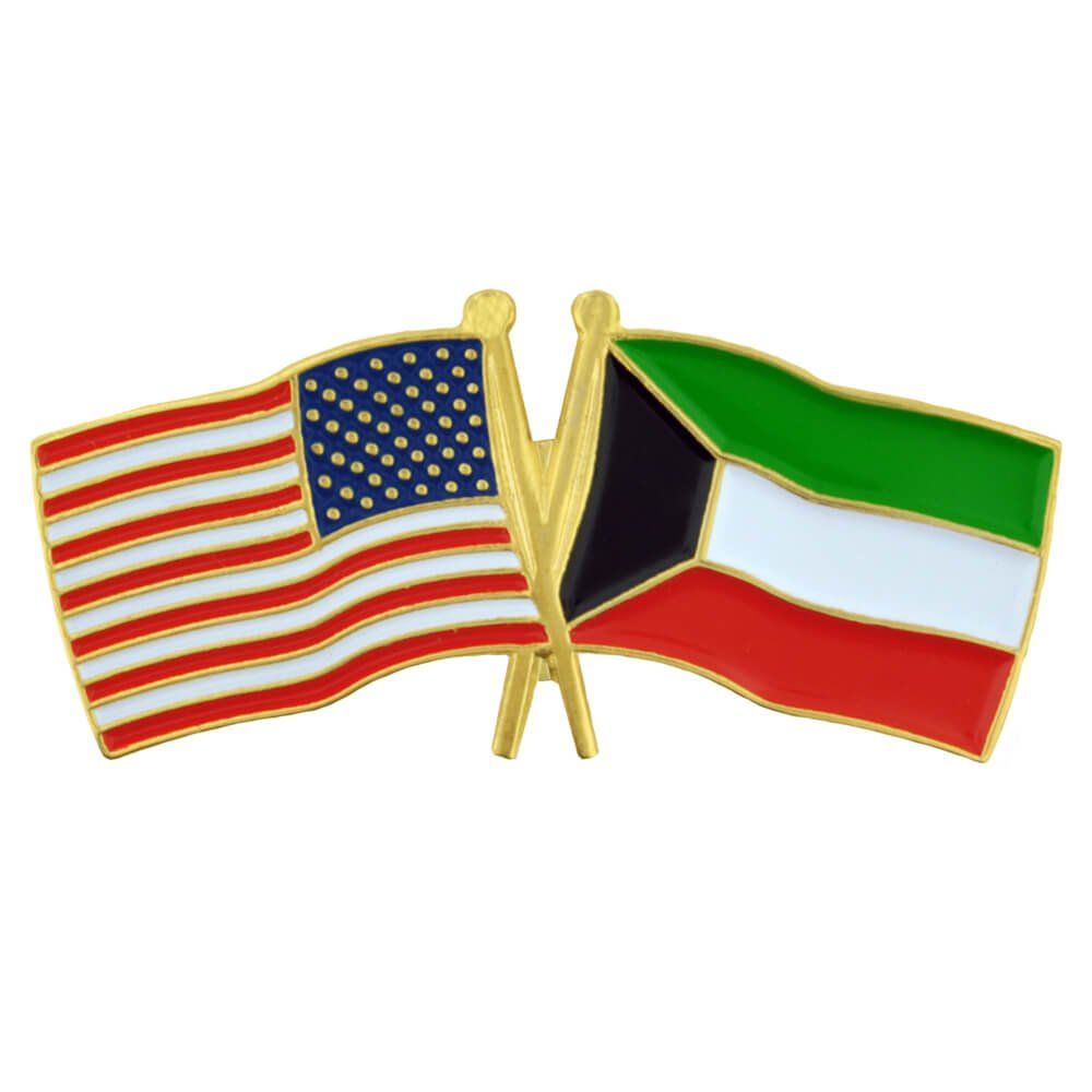PinMart's USA and Kuwait Crossed Friendship Flag Enamel Lapel Pin