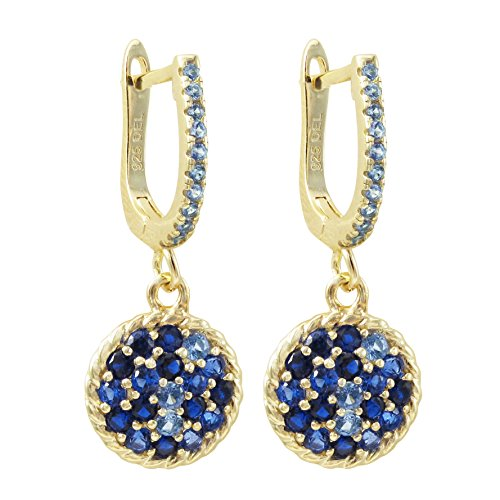 (Gold Toned Sterling Silver Round Earrings - Blue Sapphire Simulated Stones - 11mm - By Piers Design)