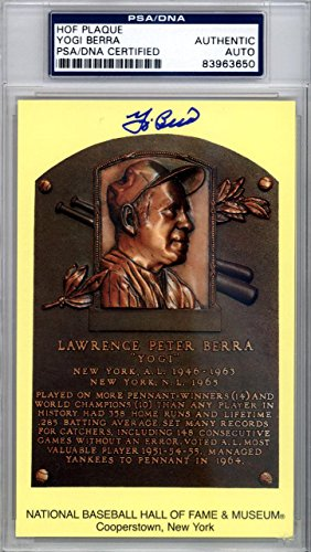 Yogi Berra Authentic Autographed Signed Hof Plaque Postcard 118175 PSA/DNA Certified MLB Cut Signatures