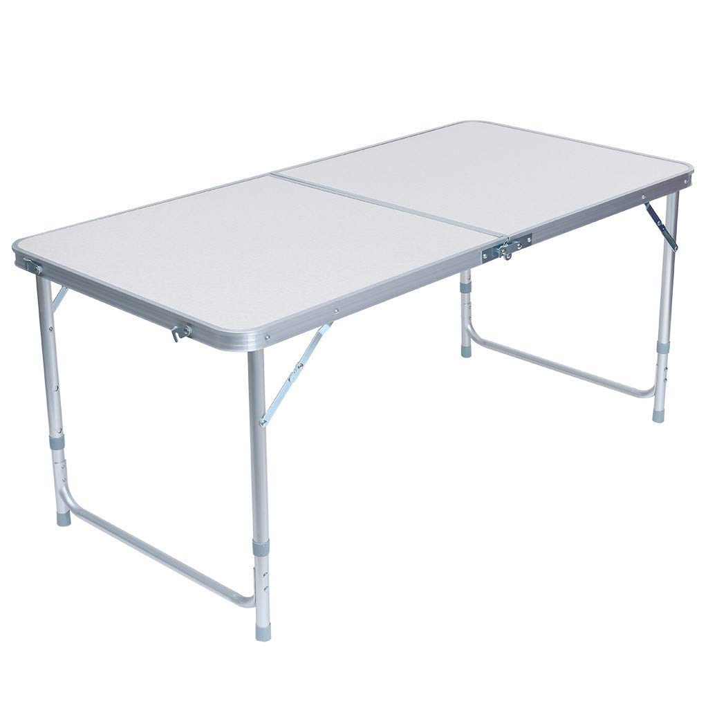 WONdere Portable Camping Table 4-Person Folding Aluminum Picnic Party Dining Desk in/Out (A)