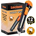 Lnchett 12-Pack Utility Knife, Retractable Box Cutter for Cartons, Cardboard and Boxes, 18mm Wider Razor Sharp Blade, Smooth Mechanism, Perfect for Office and Home use