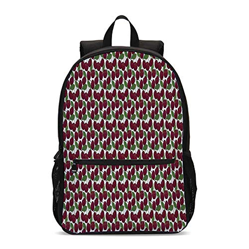 Kitchen Decor Durable Backpack,Cherry Pattern Ripe Fresh Fruit Image Floral Country Style Image Natural Gourmet for School Travel,12.2