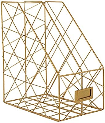 color dorado Organizador de documentos de metal organizador de archivos de escritorio revistero de malla