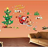 Santa Claus Christmas Tree Merry Christmas Wall Stickers DIY Mural Art Decal Self Adhesive Removable PVC Wall Paper Decor,19.7 inch*27.6 inch Original