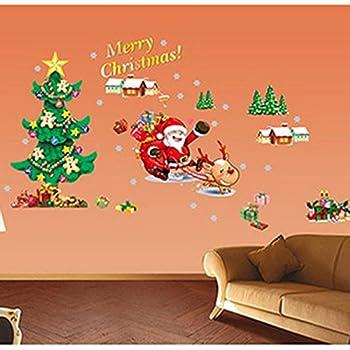 Peelco easy application merry christmas santa for Christmas wall art amazon
