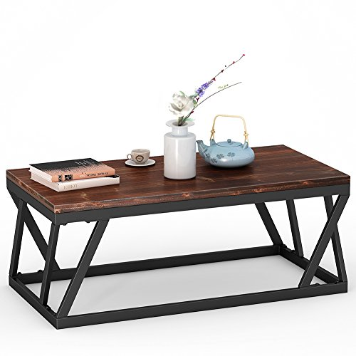 Tribesigns 47″ Rustic Style Solid Wood Coffee Table Vintage Cocktail Table for Living Room
