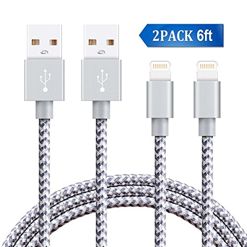 For iPhone Lightning Cable, Areker 2Pack 6ft Nylon Braided Charge and Sync Charger Cable for iPhone Charging Cord for iPhone 8 Plus 7 Plus 6s 6 Plus SE 5s 5c iPad Mini Air IOS Device(Gray)