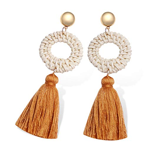 Yuiio Tassel Earrings for Women, Fringe Drop Earrings with Straw Rattan Knit Hoop Bohemian Style, Best Gift for Mom, Sister and Girls Brown Color (Rattan Style)