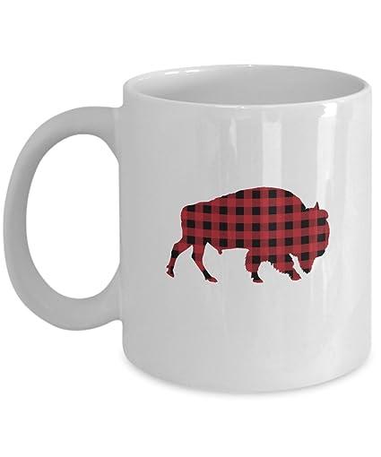 Amazoncom Buffalo Plaid Mug Classic Red And Black Bull Plaid
