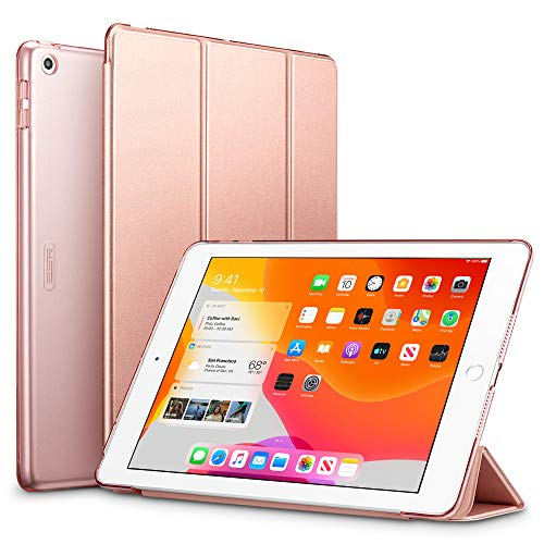 ESR for iPad 7th Generation Case, Yippee Trifold Smart Case for iPad 10.2 2019 with Auto Sleep/Wake Function, Lightweight Multiple Viewing Stand Case with Hard Back Cover - Rosegold