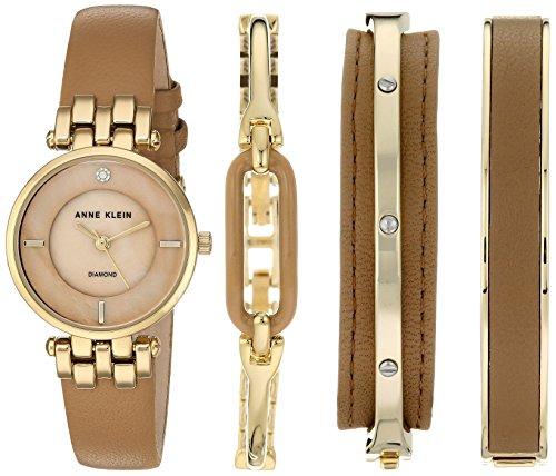 Anne Klein Women's AK/2684DTST Diamond-Accented Gold-Tone an...