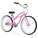 Firmstrong Urban Lady 3-Speed Beach Cruiser Bicycle, 26-Inch, Pink