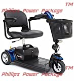 Pride Mobility - Go-Go Sport - Travel Scooter - 3-Wheel - Blue - PHILLIPS POWER PACKAGE TM - TO $500 VALUE