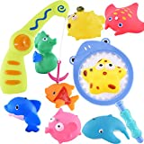 Dosthlike Baby Fishing Bath Toy Children Kids Toddlers Bath Water Toys with A Magnetic Fishing Rod