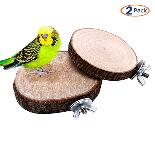 Hamiledyi Wooden Bird Perch Platform, Round Bird Cage Perchs Sleeping Stand Playground Accessories for Parakeets Cockatiels Conures Macaws Parrots Love Birds Finches 2 PCS