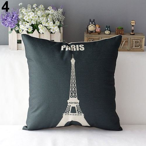 43cm Square Pillow Cushion Cover Letter Print Linen Pillowcase (Pattern 3) - 5