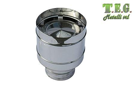 Terminale canne fumarie 4 venti in acciaio inox con base tonda DN 150