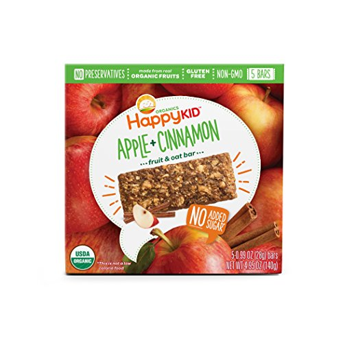 Happy Kid Organic Fruit & Oat Bar Apple Cinnamon, 5 Count Box (Pack of 6) Chewy Oat Bars with Organic Fruits & Whole Grains, Organic Kids Snack, Gluten Free Non-GMO No Preservatives ()