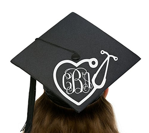 GLITTER Nursing or Medical School Stethoscope Monogram Personalize a Graduation Commencement Cap or Hat]()