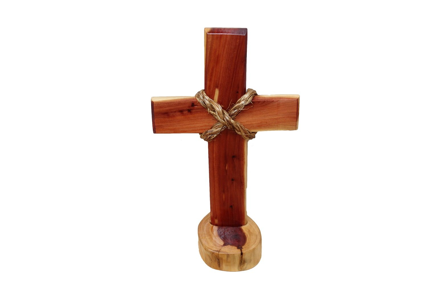 Amazoncom Hand Crafted Wooden Cross On Stand With Rope Design In