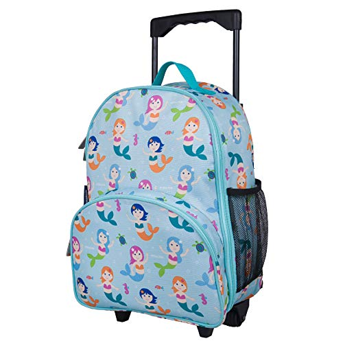 Wildkin Rolling Luggage, Features Telescopic Top Grab Handle with Convenient Extras for Quick and Easy Organization, Olive Kids Design - Mermaids