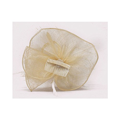 LeahWard mode Designer Fascinator Hat Hair Accessories Hochzeit Hen Party Qualität Blumendruck Feather Headband / Comb CWH00205 CWHA006 (CWH00205-Ivory On Comb)