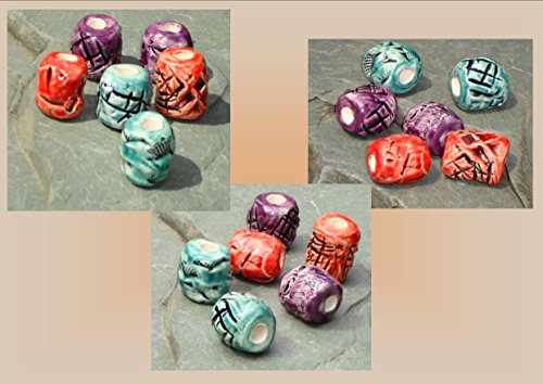 Beads, Dread Beads, Hair Accessories, Large Red Teal Purple Beads, Ceramic Pottery Beads, Handmade Clay Beads (Handmade Dread Beads)