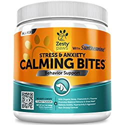Zesty Paws Calming Treats Dogs - Anxiety Composure Relief Suntheanine - Organic Kelp & Valerian Root + L Tryptophan Dog Stress & Separation Aid in Fireworks, Thunder + Chewing & Barking - 90 Chews