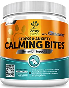 8. Zesty Paws – Anxiety Composure Aid with Suntheanine – Organic Hemp & Valerian Root + L Tryptophan for Dog Stress Relief, 90 Count