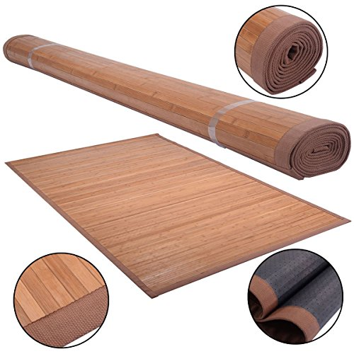 Bamboo area rug 5 inch x 8 inch natural bamboo wood floor carpet indoor outdoor easy to clean natural bamboo construction and - Near Tampa Outlets
