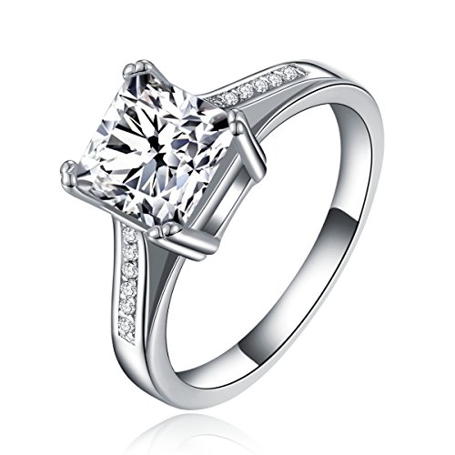 Royal Individual Princess Cut Engagement Ring with CZ in White Gold - Princess Brass Ring
