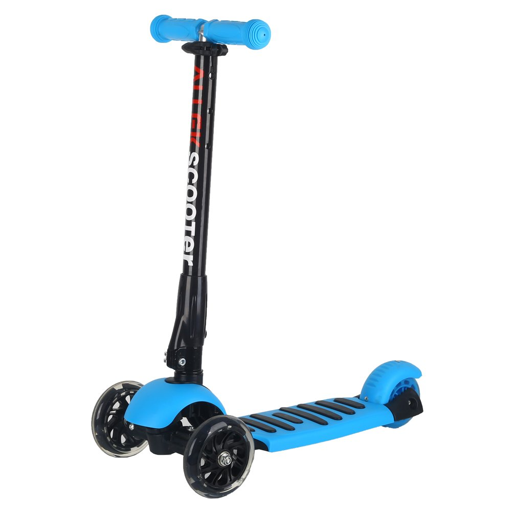 Scooter, Allek 3 Wheel Kick Scooter for Kids Boys Girls Adjustable Height PU Flashing Wheels Best Gifts for Children from 3 to 17 Year-Old