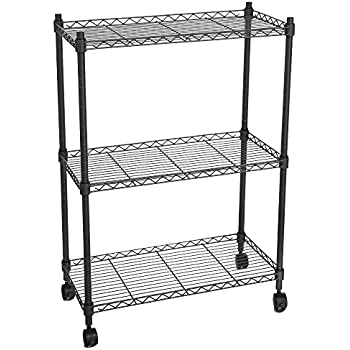 finnhomy 3 tier heavy duty wire rack shelving with wheels metal adjustable rolling. Black Bedroom Furniture Sets. Home Design Ideas