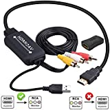 HDMI to RCA Converter, HDMI to RCA Cable, 1080P HDMI to AV Adapter Cable Supports NTSC for TV Stick, Roku, Chromecast, Apple TV, PC, Laptop, Xbox, HDTV, DVD Etc