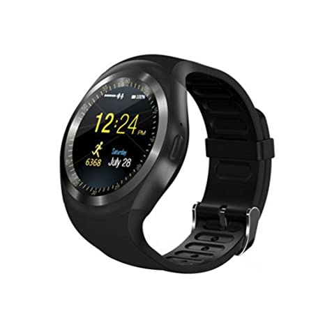 Amazon.com: tiean Y1 reloj inteligente, redondo Nano SIM ...