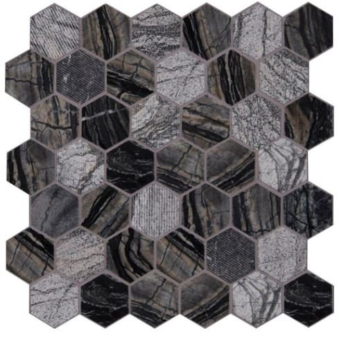 Henley Hexagon 12 in. x 12 in. x 10 mm Natural Marble Mesh-Mounted Mosaic Floor and Wall Tile