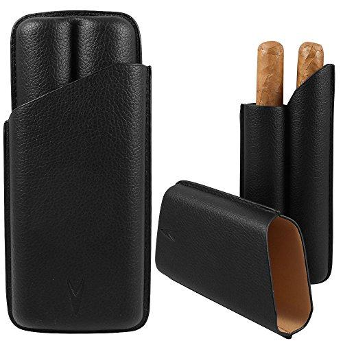 Lotus 70 Ring Gauge 2-Finger Cigar Case/Pouch Black
