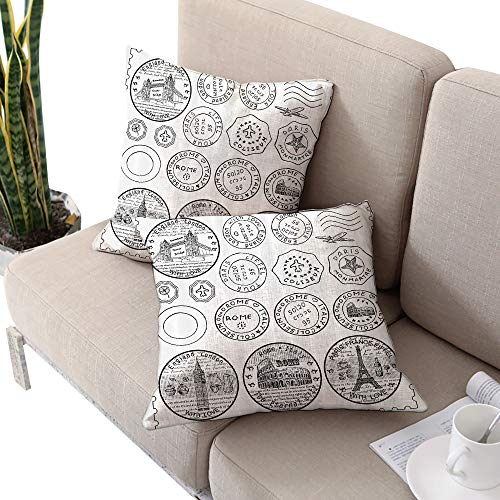 (Travel Square personalized pillowcase ,Stamps from All Over the World Historical Landmarks Tourist Attraction European Black White W24