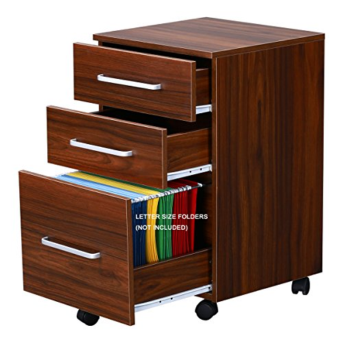 DEVAISE 3-Drawer Wooden File Cabinet with Wheels, 15.7-Inch x 15.7-Inch (2 Drawer Walnut Cabinet)